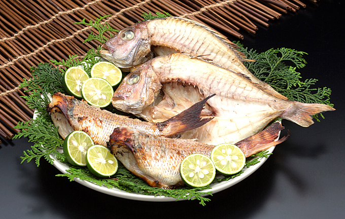 Dried fish of the natural sea bream